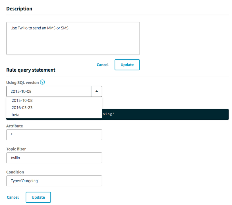 Amazon SQL Version Selector in AWS IoT