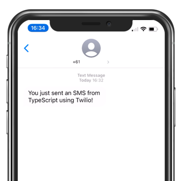 A view of the iPhone messages app showing we received the message from the script.