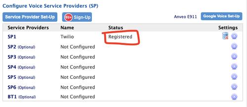 Registered status with Twilio and ObiTALK