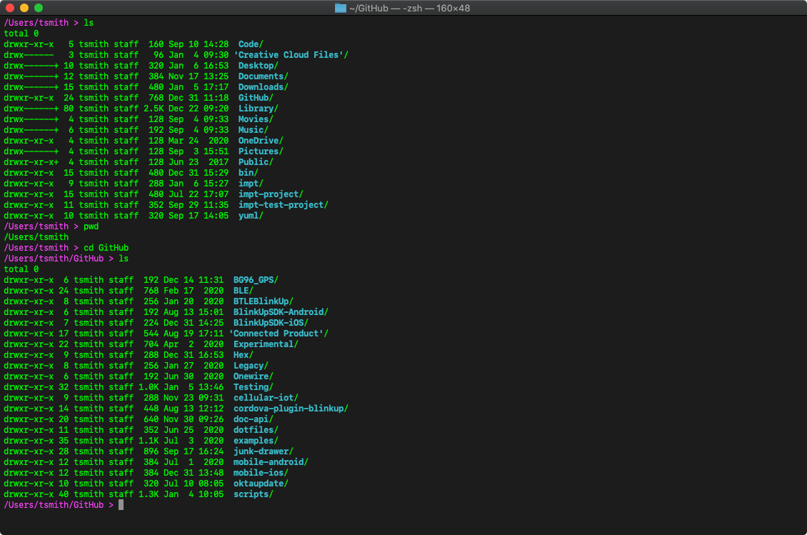 The macOS Terminal showing the commands introduced below