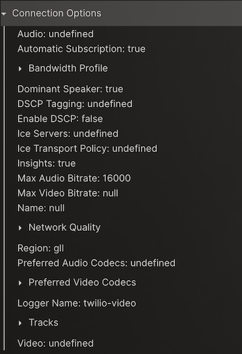 Example of connection options