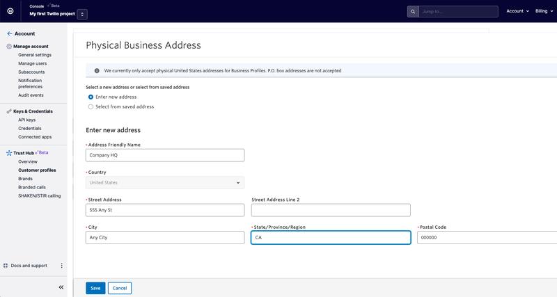 Customer Profiles Physical Address