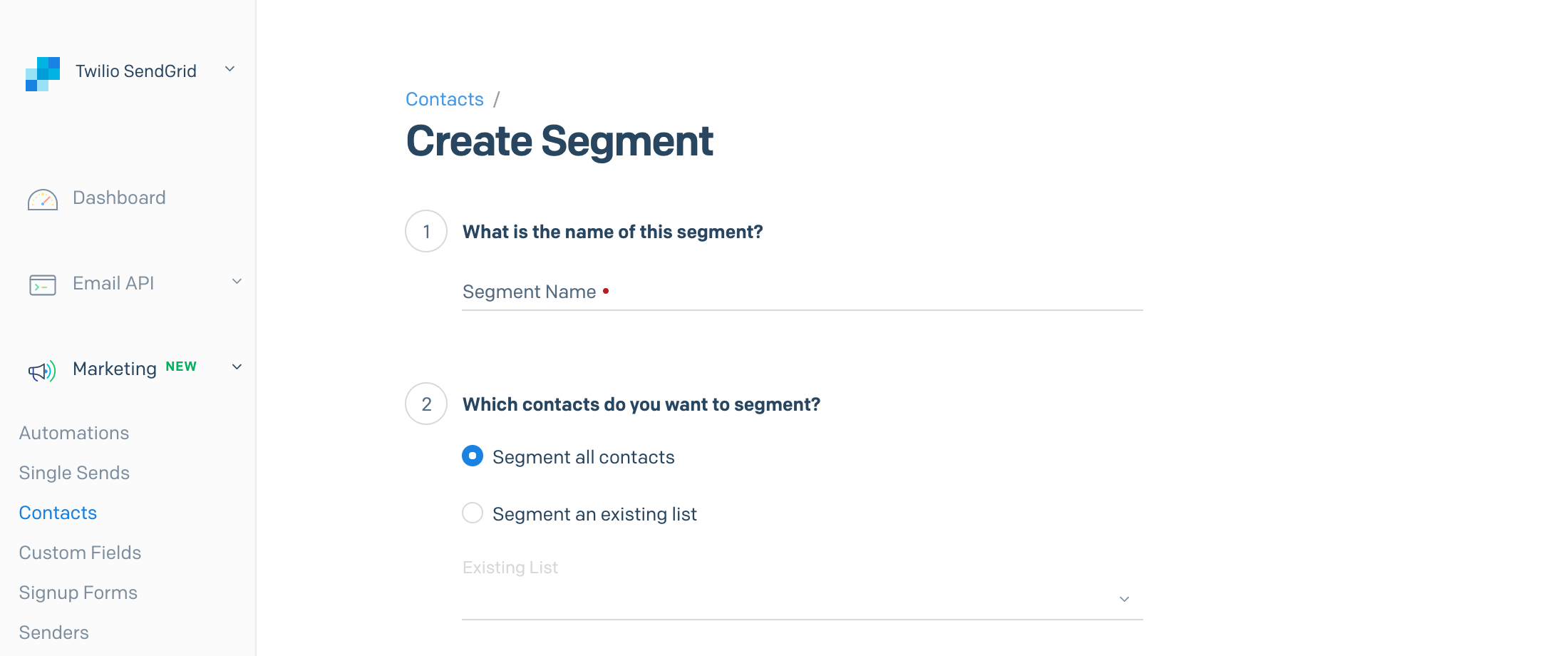 The contacts menu inside the SendGrid App, displaying the segment name field and list from which  the segment should be built.