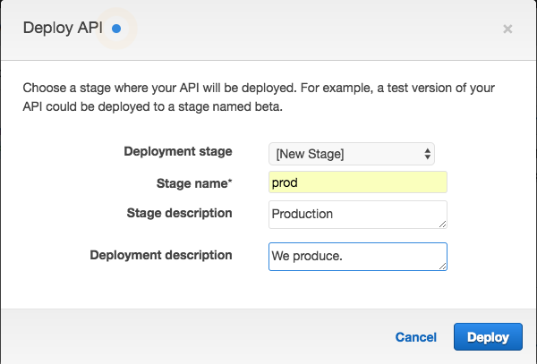Create a New Stage in API Gateway