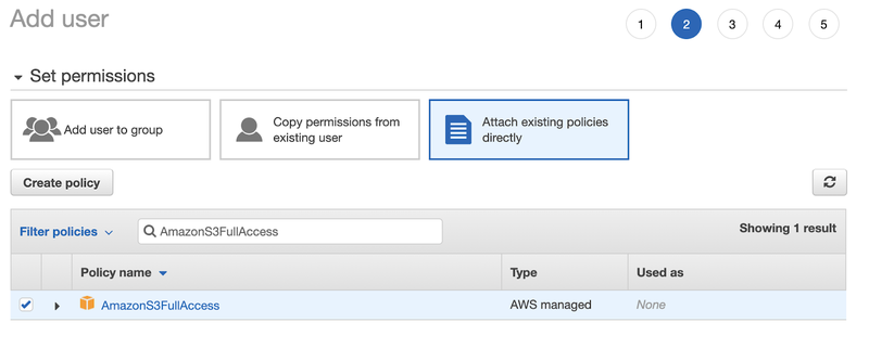 Settings page to Set permissions for the newly created IAM user with policy name AmazonS3FullAccess