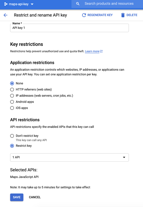 Google Cloud Platform API key restriction page