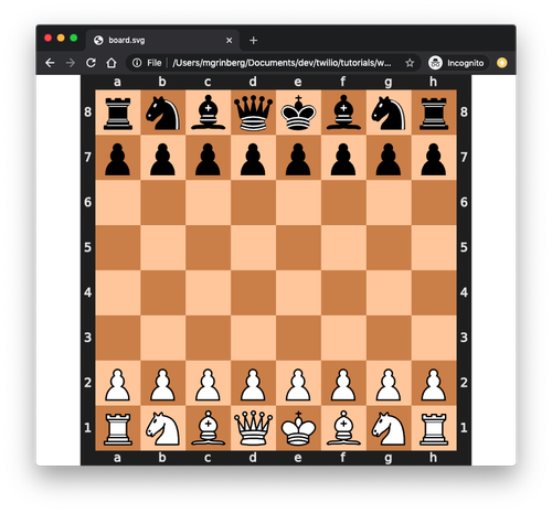 Diagram of a chess board svg file on web browser