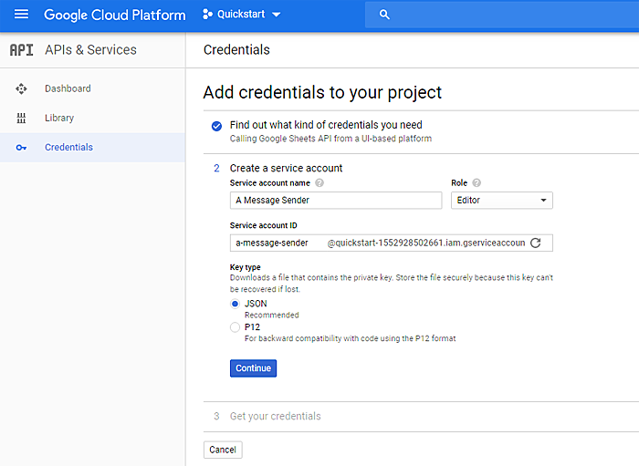 Add credentials to Google Cloud Platform project