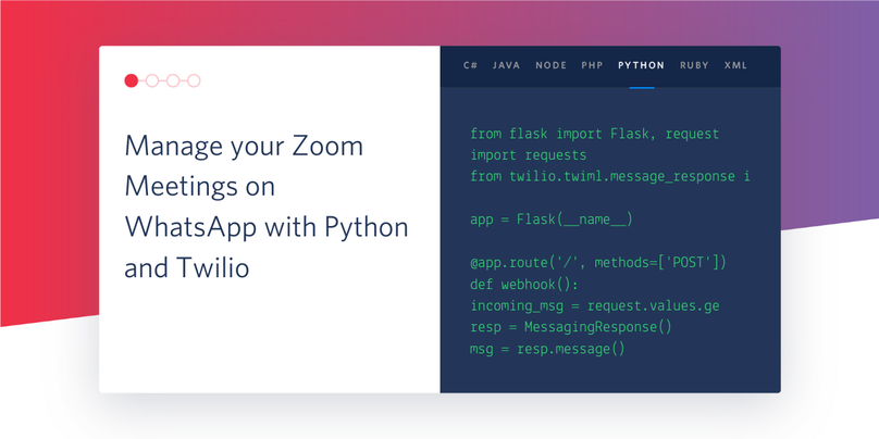 Manage your Zoom Meetings on WhatsApp with Python and Twilio