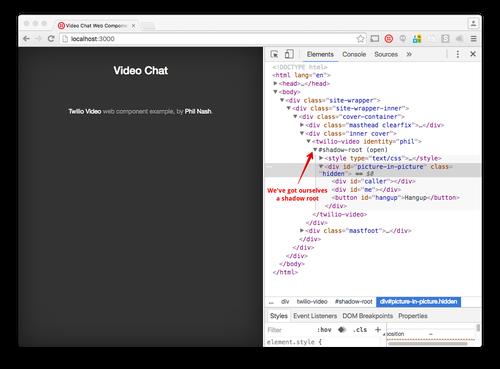 Mit der Aktualisierung des JavaScript sehen wir jetzt ein Shadow Root für unser benutzerdefiniertes Element im Inspektor.