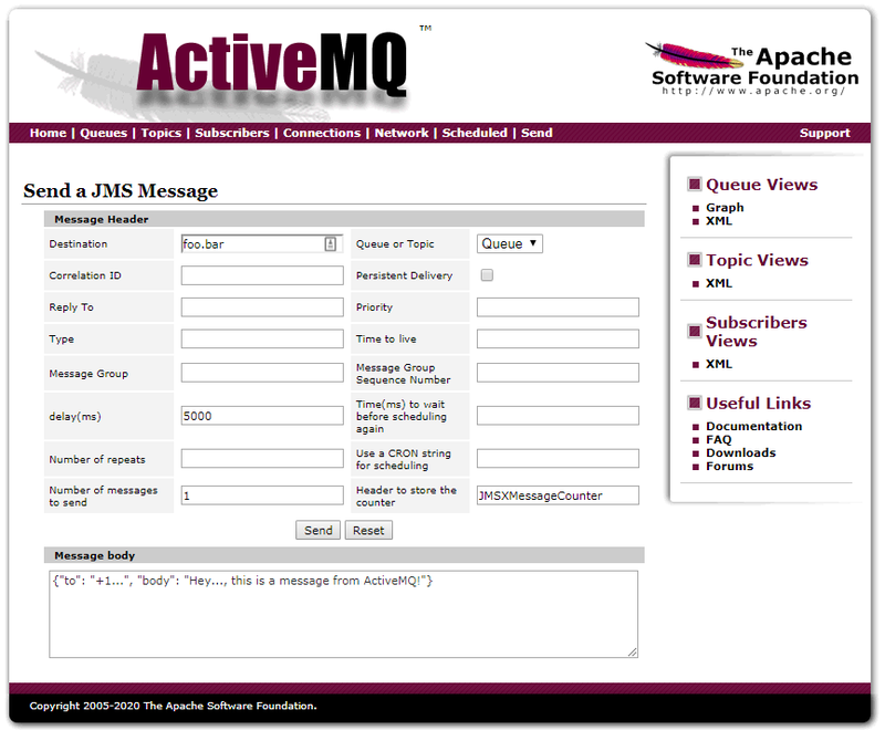 ActiveMQ user interface screenshot showing a value of 5000 in the delay(ms) field.