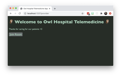 "Screenshot of a Twilio Video application. The big text says ""Welcome to Owl Hospital Telemedicine."" Small text says ""Thanks for caring for our patients."" There's one button that says ""Join Room."" Also it's got a green/woodsy color palette going on."
