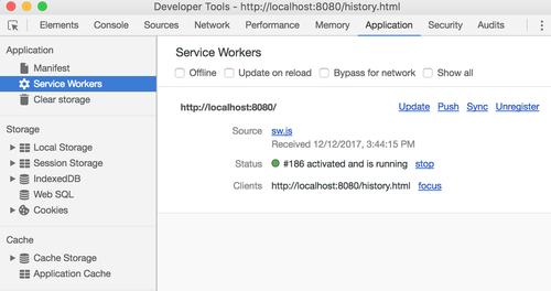 Service workers tab in Chrome