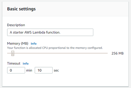 Allocating memory to the Lambda function