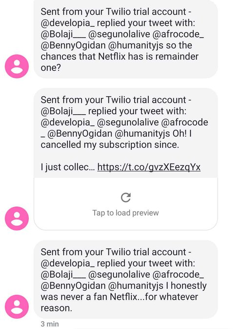 Sample SMS messages showing Twitter retweets and mentions forwarded through a custom JavaScript application using the Twitter API and Twilio SMS
