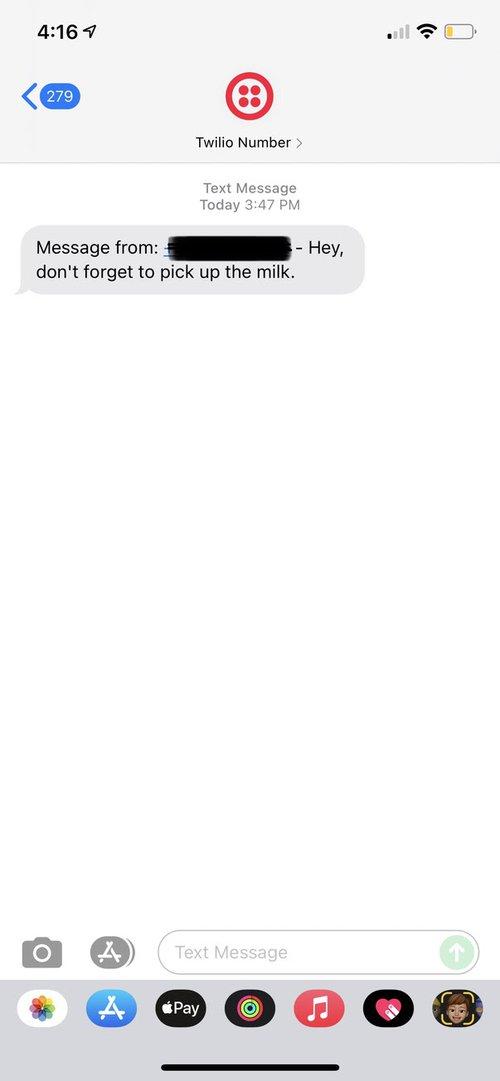 Screenshot of transcription on SMS