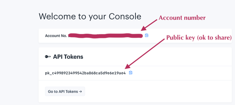 Screenshot of account number and API token on the IEX Console page