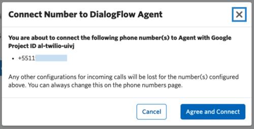 Tela do console da Twilio com a confirmação do tutorial de configuração do Agente do DialogFlow