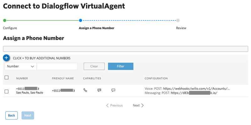 Tela do console da Twilio com o passo 2 do tutorial de configuração do Agente do DialogFlow exibindo a escolha do número Twilio