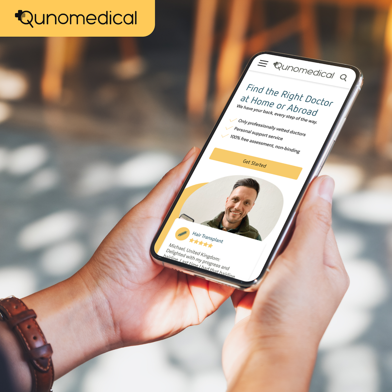 Qunomedical website on iPhone