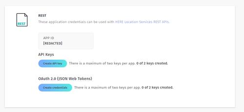 HERE API key