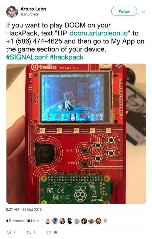 Games installed on open source hardware badge, Hackpack v4.