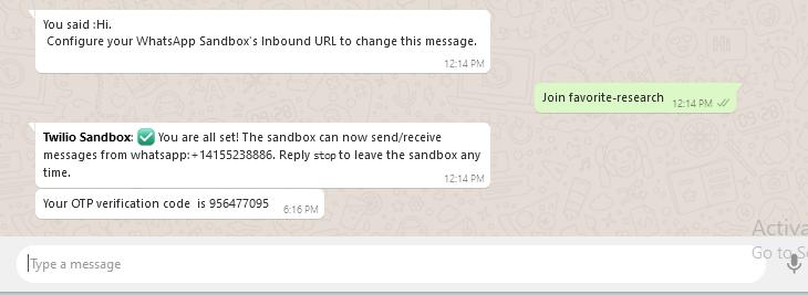 OTP sent to WhatsApp