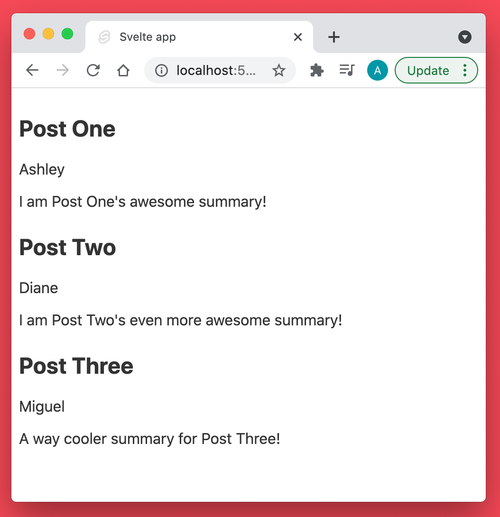 Screenshot showing preview post style components