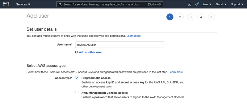 """Options to Set user details in the user creation page for IAM users with the user name """"myfirstIAMuser"""""""