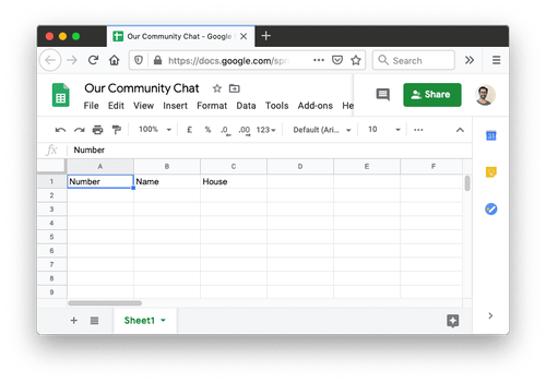 A Google sheet with three column headings: Number, Name and House