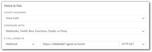 Screenshot of Twilio console configuring incoming calls