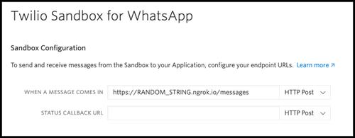 """Wir geben unsere ngrok-URL in das Feld """"When a message comes in"""" in der Twilio-Sandbox für WhatsApp ein"""