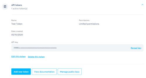 TransferWise API token