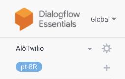Detalhe do DialogFlow com a idioma Português Brasileiro como padrão e botão mais para adicionar um idioma adicional