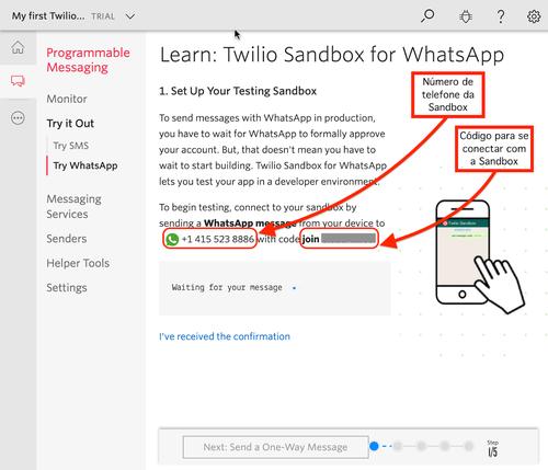 WhatsApp sandbox configuration