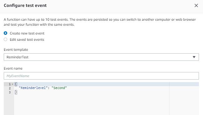Configure Test Event