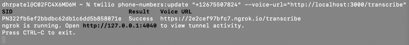 Console log after creating ngrok tunnel