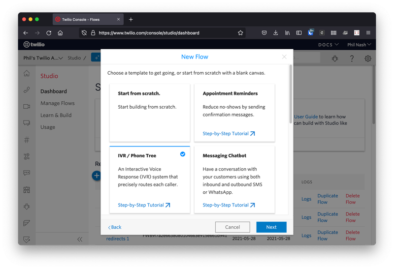 """Once you have named your Flow, you can then choose from some templates: """"Start from scratch"""", """"Appointment reminders"""", """"IVR / Phone Tree"""" and """"Messaging Chatbot"""" are shown on the screen. Choose """"IVR / Phone Tree"""" and click Next."""