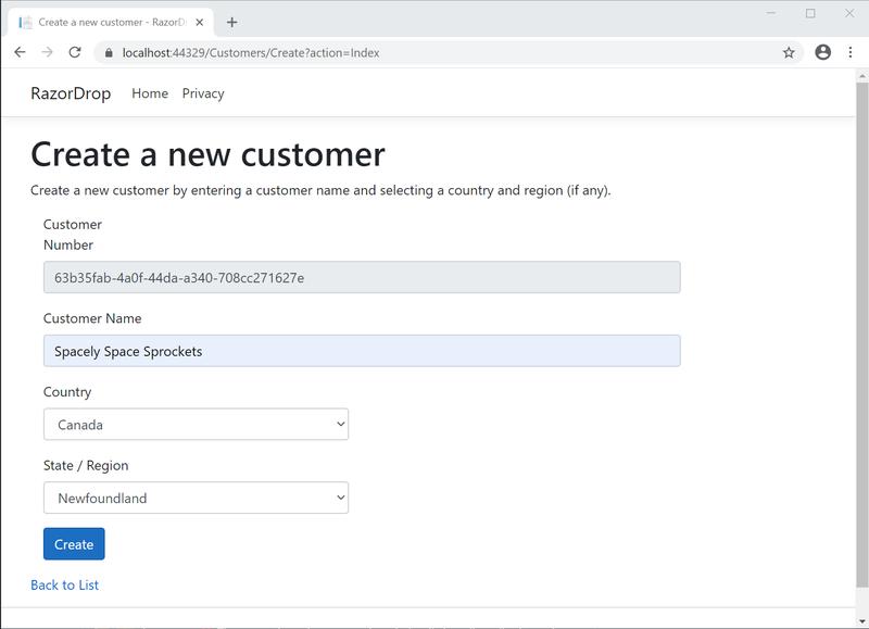 Chrome web browser screenshot of Create.cshtml