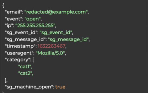 Email open indicator JSON example