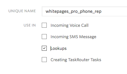 Enable Lookups to use your whitepages pro add-on