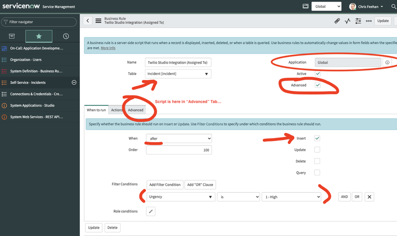 screenshot of the Business Rule configuration proof of concept