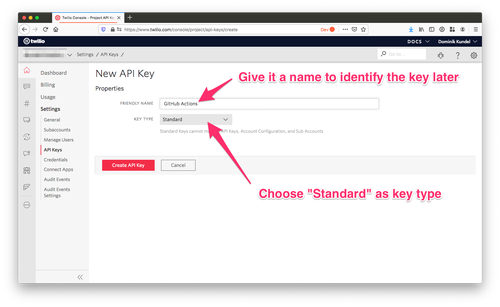screenshot of Twilio Console highlighting the API key creation screen