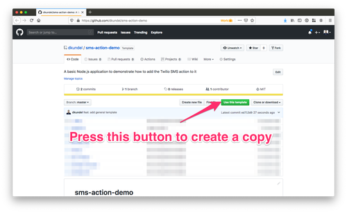 screenshot of GitHub repository screen highlighting the template button