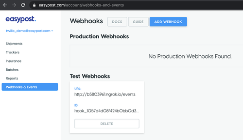 test webhooks screenshot