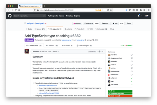 screenshot of GitHub from a pull request to add typescript to webpack