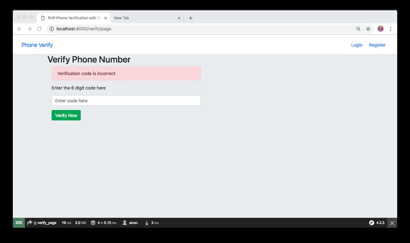 Verify phone number example - error