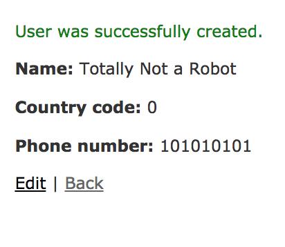 Tela do navegador com a mensagem dizendo que o usuário foi criado com sucesso