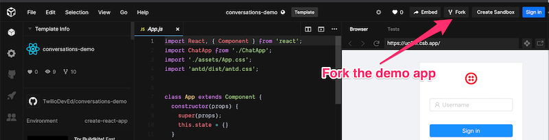 "Conversations Demo App on CodeSandbox.io with arrow pointing to ""Fork"" button"