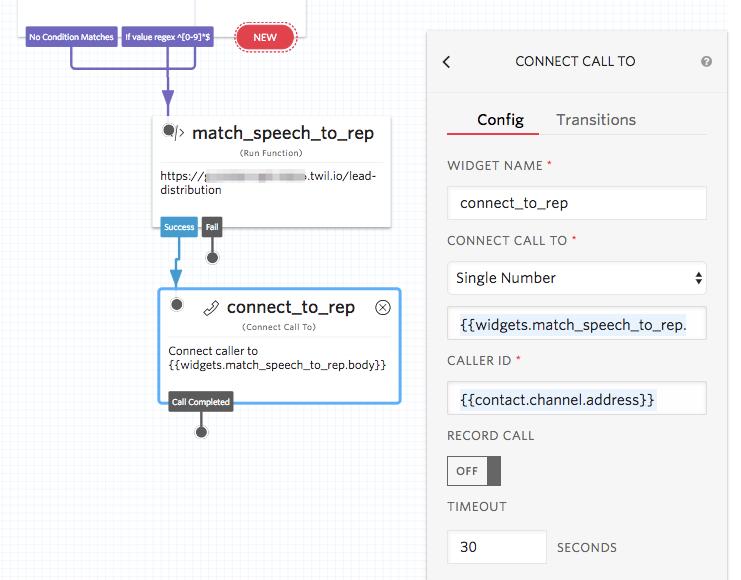 Function widget to Connect Call widget